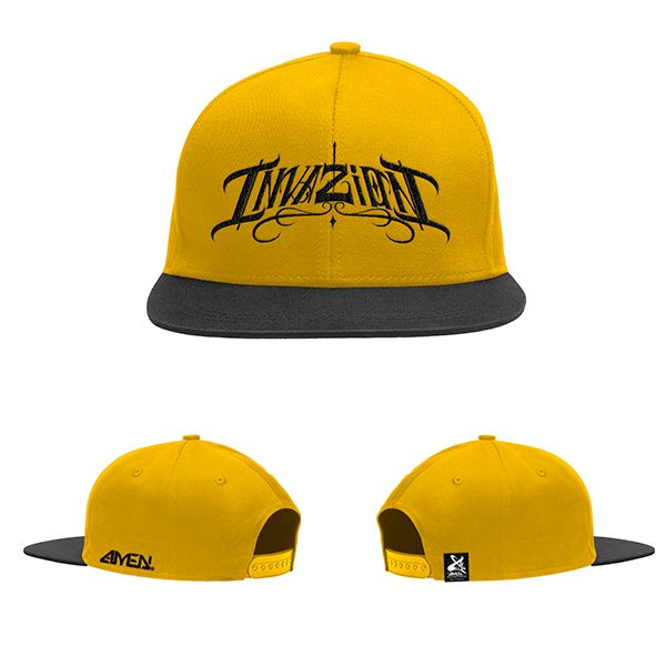 Invazion-gorra-amarilla-y-negro-logo-negro